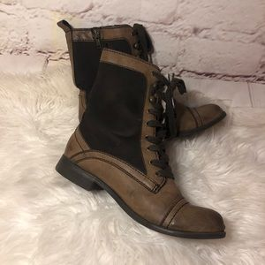 REPORT WOMENS LEATHER COMBAT BOOTS
